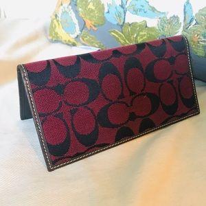 COACH signature checkbook red monogram wallet